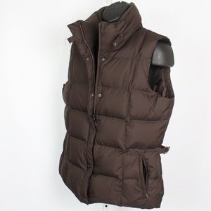 Eddie Bauer brown puffer vest jacket goose down